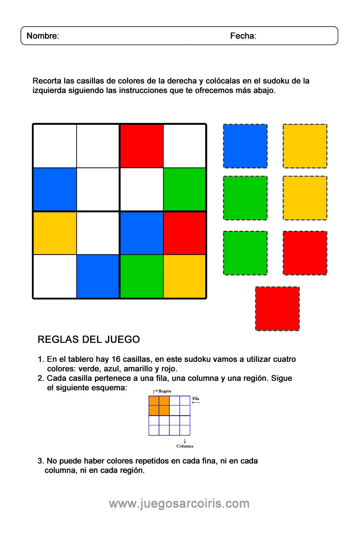 izquierda Será lazo  Juegos Arcoiris – Actividades | Sudoku Infantil para imprimir- Juegos  Arcoiris - Actividades